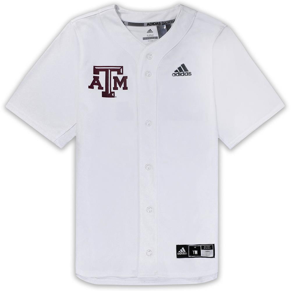 Texas A&M Adidas Diamond King Elite Full Button Youth Baseball Jersey