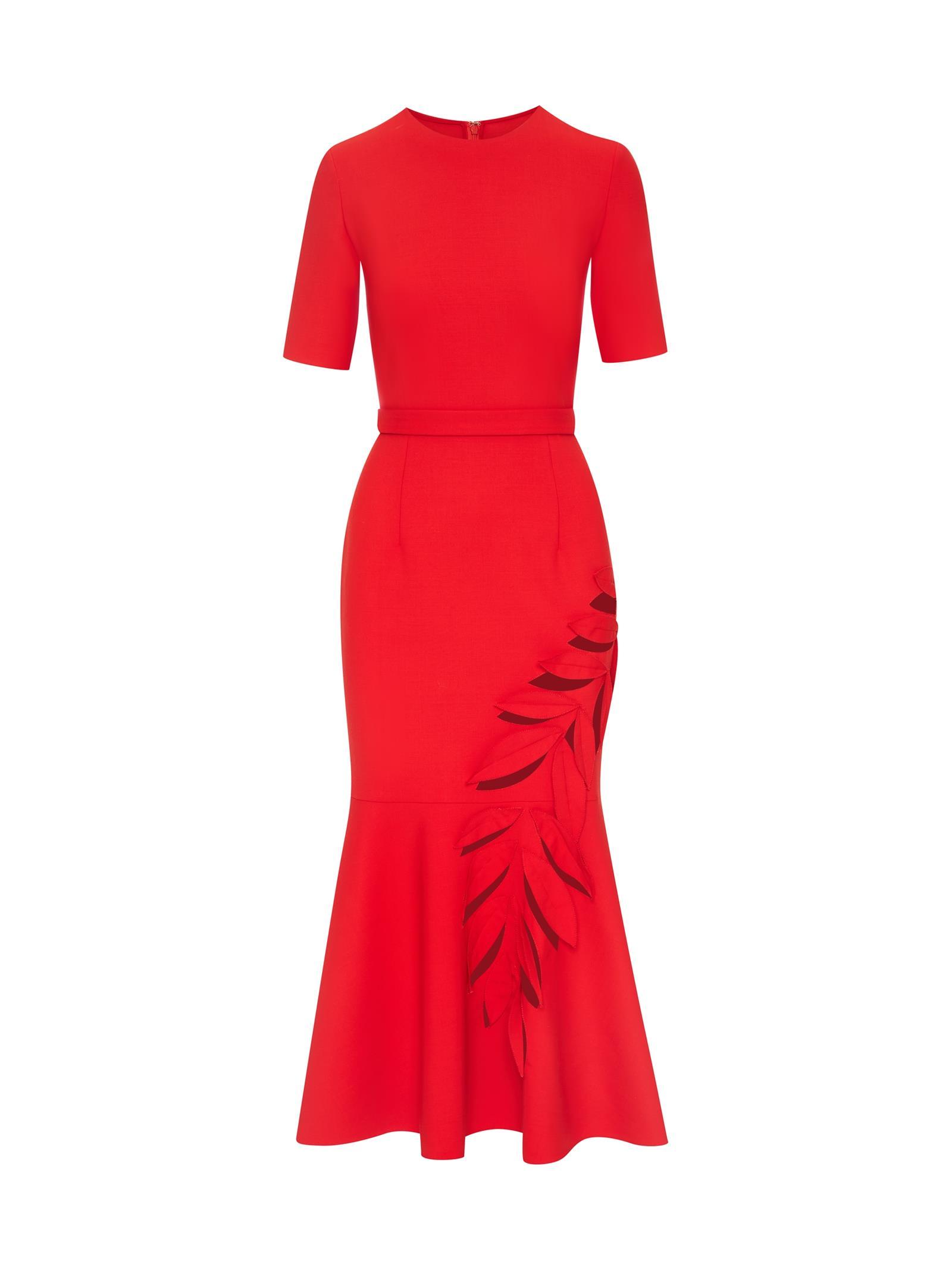 Stretch Wool Cocktail Dress | Dresses | Oscar de la Renta Crimson | Oscar  de la Renta