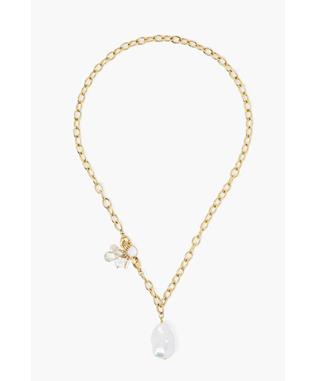 GOLD CHAIN AND PEARL NECKLACE