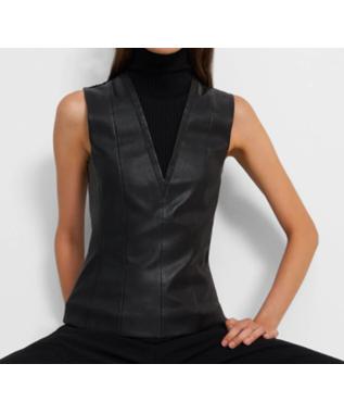 Sleeveless Turtleneck Top in Leather Combo