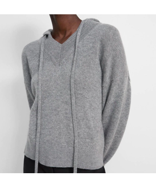 V-Neck Hoodie in Cashmere