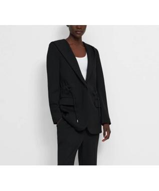 Hooded Drape Jacket in Double-Knit Jersey