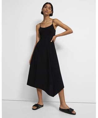 CREPE SLIP FLARED DRESS