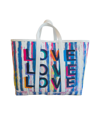 LOVE ON REPEAT PRINTED CANVAS TOTE