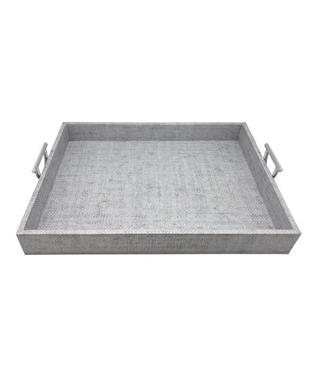 FAUX GRASSCLOTH TRAY WITH METAL HANDLES
