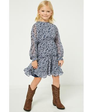 Floral Dolman Sleeve Tiered Dress