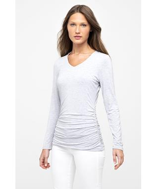 BAMBOO RUCHED LS VEE