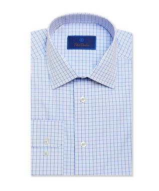 White & Blue Plaid Dress Shirt