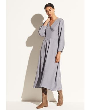 LONG SLEEVE PANELED V-NECK DRESS