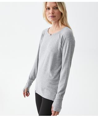 KIM L/S NOTCH NECK HI LOW W/THUMBHOLE