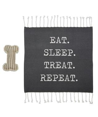 EAT SLEEP TREAT REPEAT DOG BLANKET & TOY