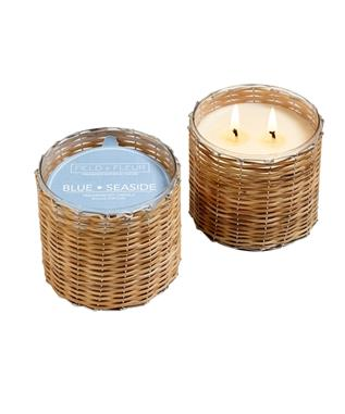 BLUE SEASIDE 2 WICK WOVEN CANDLE