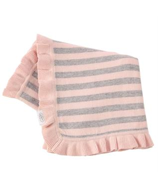 PINK/GREY STRIPE KNIT BLANKET