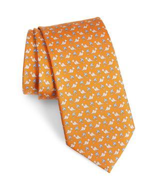 Lauro Dinosaur Print Tie