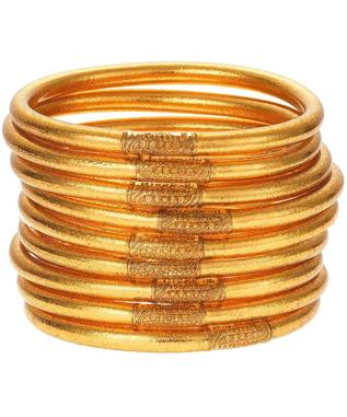 GOLD ALL WEATHER BANGLES (SET OF 9) SZ SMALL