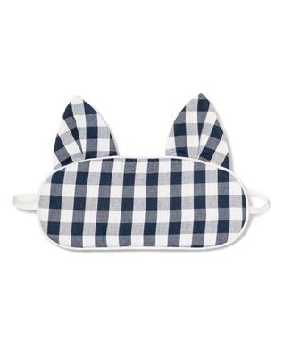 Navy Gingham Kitty Eye Mask