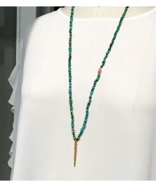 KNOTTED NECKLACE W/SERPANT PENDANT