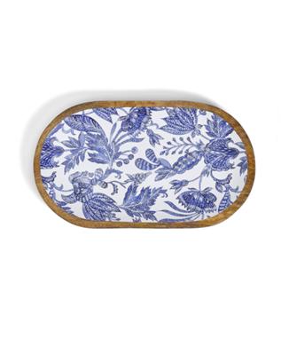 BLUE BATIK WOOD ENAMEL PLATTER