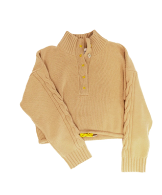 CABLE KNIT HALF SNAP CASHMERE SWEATER