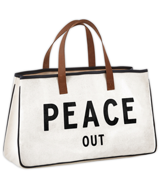 PEACE OUT CANVAS TOTE BAG
