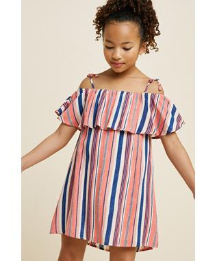 Striped Cold-Shoulder Tie-Strap Dress