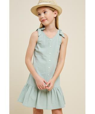 Bow Strap Button-Down Swing Dress