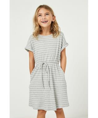 Ribbed Stripe Knit T Shirt Dress