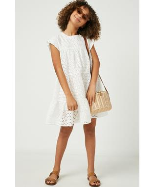 Flutter Sleeve Tiered Eyelet Dress
