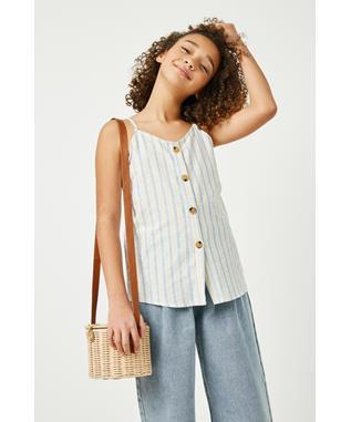 ?Striped V Neck Buttoned Cami