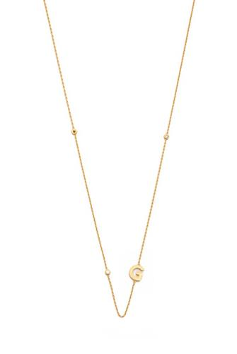 Gold Alphabet Necklace G GOLD