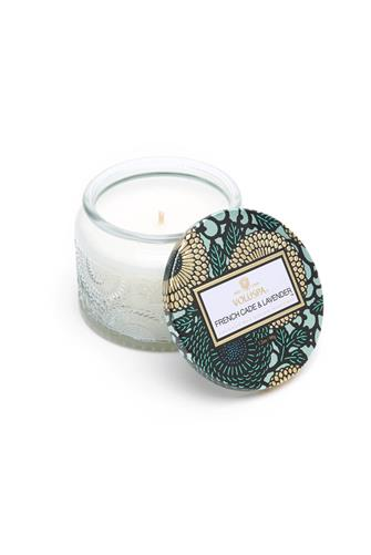 French Cade & Lavender Small Glass Jar Candle GREEN