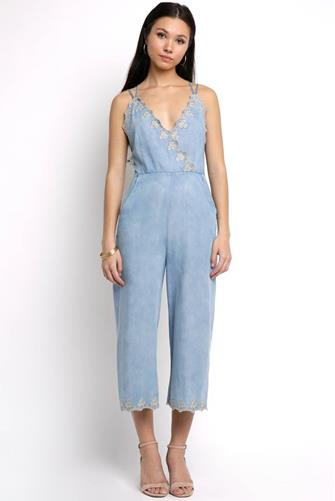 Celestia Surplice Embroidered Jumpsuit CHAMBRAY