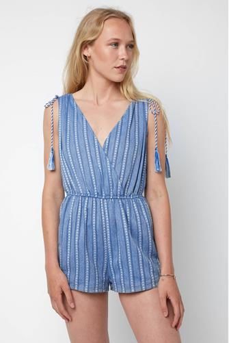 Tie Surplice Striped Romper BLUE MULTI -