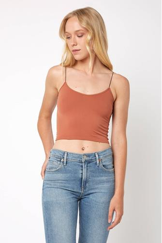 Skinny Strap Cami Bra Top COPPER