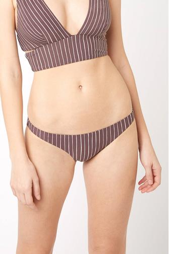 Cigar Stripe Luciana Full Hipster Bikini Bottom BROWN MULTI -