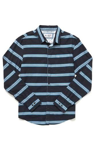 Horizontal Stripe Button Down Shirt NAVY