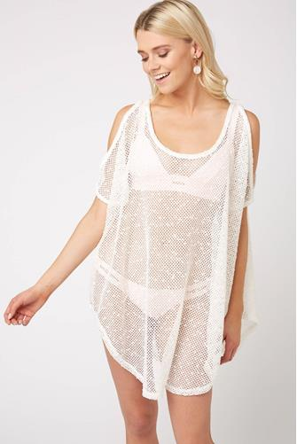 Cold Shoulder Sheer Tunic WHITE