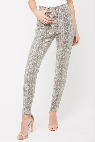 The Bond Hi Rise Skinny Ankle Jean in Snake Along NATURAL