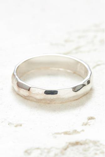 Silver Hammered Stacking Ring SILVER