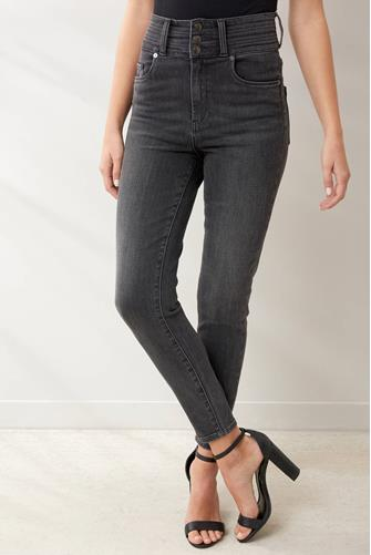 Super Hi Rise Button Front Jean in Warrior Princess CHARCOAL