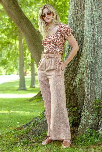 Striped Wide Leg Pant with Resin Belt BROWN MULTI -