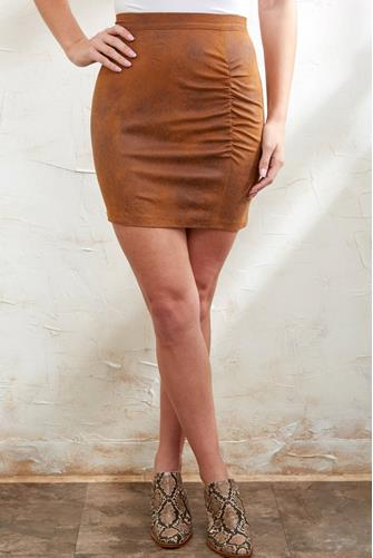 Rumi Ruched Suede Mini Skirt BROWN