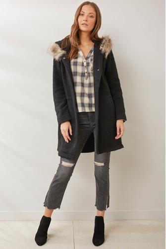 BRUSHED RIB COAT W/ FUR BLACK