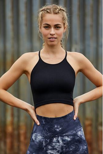 Cropped Run Tank Top BLACK