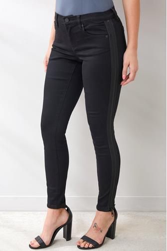 The Bond Mid Rise Zipper Side Stripe Jean in Nightmania BLACK