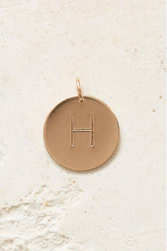 H Initial Disc Necklace Charm GOLD