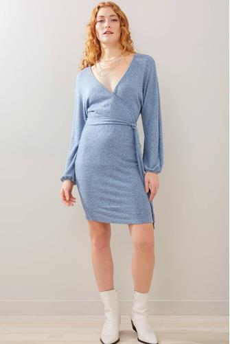 Surplice Hacci Mini Dress BLUE
