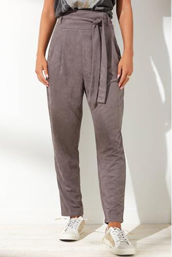 Faux Suede Hi Rise Tapered Pant GREY