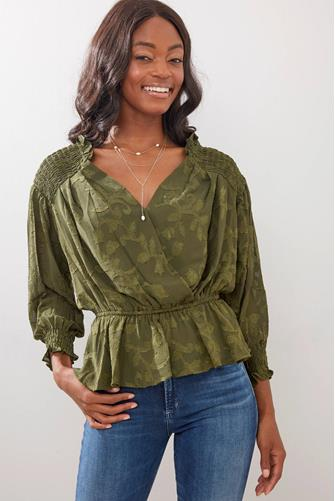CLIPPED JACQUARED PEPLUM BLOUS OLIVE