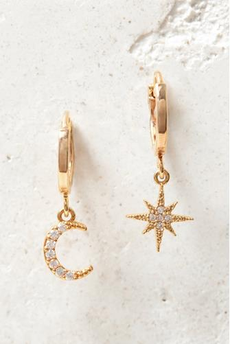 Chloe Cubic Zirconia Moon & Star Charm Huggie Earrings CLEAR